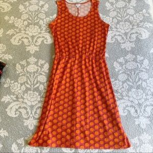LuLaRoe Pink Orange Polka Dot Summer Dress